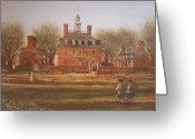 Soldiers Painting Greeting Cards - Williamsburg Governors Palace Greeting Card by Charles Roy Smith