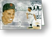National League Painting Greeting Cards - Willie Mays - The Greatest Greeting Card by George  Brooks