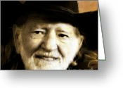 Arne J Hansen Greeting Cards - Willie Nelson Greeting Card by Arne Hansen