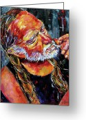 Country Painting Greeting Cards - Willie Nelson Booger Red Greeting Card by Debra Hurd