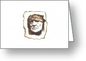 Music Pyrography Greeting Cards - Willie Nelson Greeting Card by Clarence Butch Martin