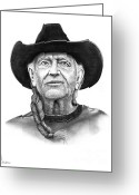 Famous People Drawings Greeting Cards - Willie  Nelson Greeting Card by Murphy Elliott