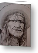 Singer Songwriter Greeting Cards - Willie Nelson Greeting Card by Pete Maier