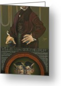 Horns Greeting Cards - Willie von Goethegrupf Greeting Card by Patrick Anthony Pierson