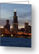 Skylines Photo Greeting Cards - Willis Tower at Dusk aka Sears Tower Greeting Card by Adam Romanowicz