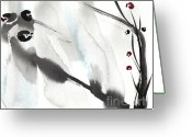 Sumi Greeting Cards - Willow Greeting Card by Casey Shannon