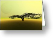 Sun Abstract Digital Art Greeting Cards - Willoway Greeting Card by Corey Ford