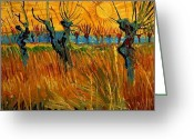 Willows Digital Art Greeting Cards - Willows at Sunset Greeting Card by Vincent Van Gogh