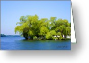 Willows Digital Art Greeting Cards - Willows on the Water 2 Greeting Card by Jane Fiala