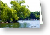 Willows Digital Art Greeting Cards - Willows on the Water Greeting Card by Jane Fiala