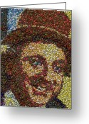 Willy Wonka Greeting Cards - Willy Wonka Fizzy Lifting Bottle Cap Mosaic Greeting Card by Paul Van Scott