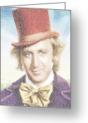 Willy Wonka Greeting Cards - Willy Wonka Song Lyrics Mosaic Greeting Card by Paul Van Scott