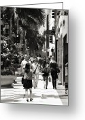 Wilshire Blvd. Greeting Cards - Wilshire Walkers Greeting Card by Ricky Barnard