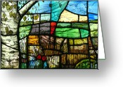 Landscape Glass Art Greeting Cards - Wiltshire landscape Greeting Card by Andrew Taylor