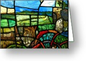 Landscape Glass Art Greeting Cards - Wiltshire landscape detail Greeting Card by Andrew Taylor