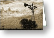 Oklahoma Landscape Greeting Cards - Wind Blown Greeting Card by Tony Grider