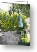 Chimes Greeting Cards - Wind Chimes in Garden Greeting Card by Andersen Ross
