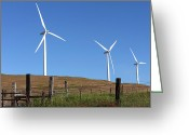 Sunset Light Greeting Cards - Wind energy wind turbines in a field Washington state. Greeting Card by Gino Rigucci