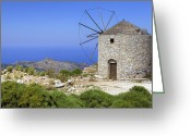 East Coast Greeting Cards - wind mill Naxos Greeting Card by Joana Kruse