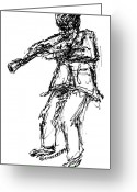 Instruments Drawings Greeting Cards - Wind Musician Greeting Card by Sam Chinkes