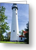Great Point Greeting Cards - Wind Point Lighthouse Greeting Card by Joan Carroll