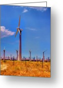 Mojave Greeting Cards - Wind Power Greeting Card by Ricky Barnard
