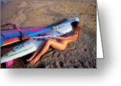 Wind Surfing Art Greeting Cards - Wind surf Greeting Card by Manolis Tsantakis