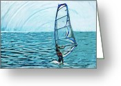 Wind Surfing Art Greeting Cards - Wind Surfer Greeting Card by Tilly Williams