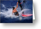 Wind Surfing Art Greeting Cards - Wind surfing Greeting Card by Manolis Tsantakis