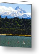 Wind Surfing Art Greeting Cards - Wind Surfing Mt. Hood Greeting Card by David Lee Thompson