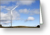 Supply Greeting Cards - Wind turbine  Greeting Card by Les Cunliffe