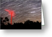 Startrail Greeting Cards - Wind Turbine Under Star Trails Greeting Card by Laurent Laveder