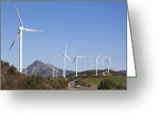 Casares Greeting Cards - Wind Turbines, Andalusia, Southern Spain Greeting Card by Ken Welsh