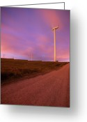 Dirt Road Greeting Cards - Wind Turbines At Night Greeting Card by photography by Spencer Bowman
