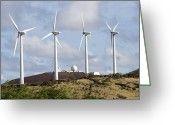 Ascension Island Greeting Cards - Wind Turbines At The Ascension Greeting Card by Stocktrek Images