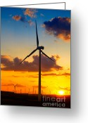 Romania Greeting Cards - Wind turbines Greeting Card by Gabriela Insuratelu