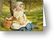 Kid Painting Greeting Cards - Windfalls Greeting Card by Sophie Anderson