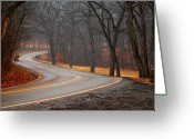Winding Road Greeting Cards - Winding Misty Road Greeting Card by Don Wolf