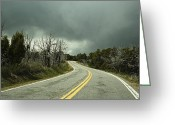 Yellow Line Greeting Cards - Winding Two Lane Road Greeting Card by Ned Frisk