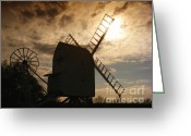Mill Greeting Cards - Windmill at dusk  Greeting Card by Pixel Chimp