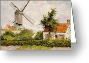 Pisarro Greeting Cards - Windmill at Knokke Greeting Card by Camille Pissarro