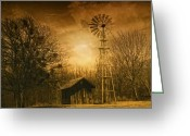 Winter Trees Digital Art Greeting Cards - Windmill at Sunset Greeting Card by Iris Greenwell