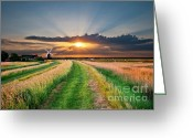 Evening Landscape Greeting Cards - Windmill At Sunset Greeting Card by Meirion Matthias