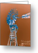 Old Mills Greeting Cards - Windmill blue Greeting Card by Rebecca Margraf
