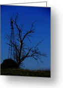 Windmill And Tree Greeting Cards - Windmill Blue Greeting Card by Todd Sherlock