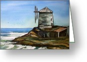 Windmill Mixed Media Greeting Cards - Windmill By The Sea Greeting Card by Trudy Kepke