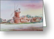 Windmill Mixed Media Greeting Cards - Windmill Greeting Card by Genevieve Brown