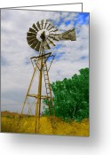Windmill Mixed Media Greeting Cards - Windmill Greeting Card by Heather Clark