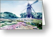 Golden Gate Painting Greeting Cards - Windmill in Golden Gate Park Greeting Card by Donald Maier