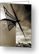 B Pyrography Greeting Cards - Windmill Greeting Card by Ismail Unkoc